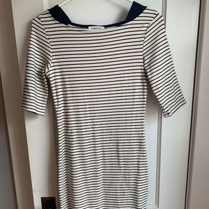 Boat neck blue and white dress